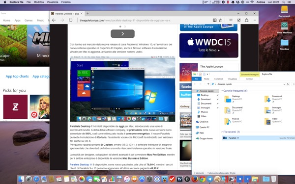 Parallels Desktop 11 Mac recensione TheAppleLounge Windows 10 OS X El Capitan 5