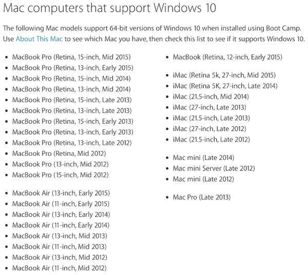 BootCamp 6 Windows 10 OS X