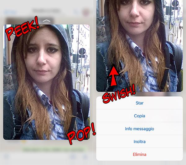 """Quando vedrà che ho pubblicato questa sua foto mi ucciderà, comunque questa è l'anteprima della nuova funzionalità 3D Touch """"Peek and Pop"""" su Whatsapp."""