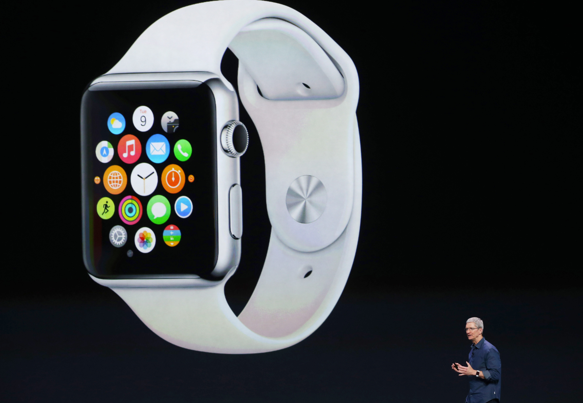 CUPERTINO, CA - SEPTEMBER 09:  Apple CEO Tim Cook announces the Apple Watch during an Apple special event at the Flint Center for the Performing Arts on September 9, 2014 in Cupertino, California. Apple unveiled the Apple Watch wearable tech and two new iPhones, the iPhone 6 and iPhone 6 Plus.  (Photo by Justin Sullivan/Getty Images)